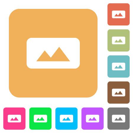 Iconos planos de imagen panorámica sobre fondos de colores vivos cuadrados redondeados. Ilustración de vector