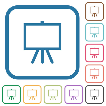 Easel with blank canvas simple icons in color rounded square frames on white background Illustration
