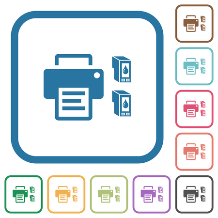 Printer and ink cartridges simple icons in color rounded square frames on white background 向量圖像