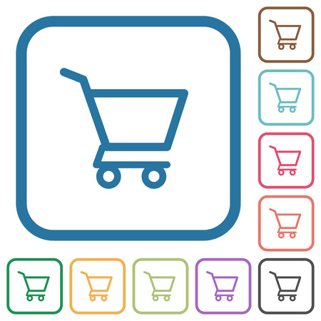 Empty shopping cart simple icons in color rounded square frames on white background