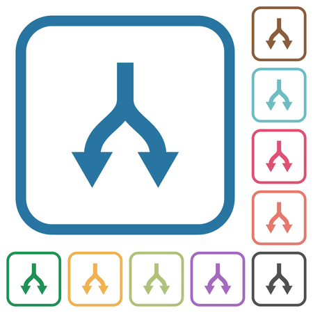 Split arrows down simple icons in color rounded square frames on white background