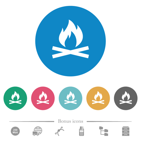 Camp fire flat white icons on round color backgrounds. 6 bonus icons included.