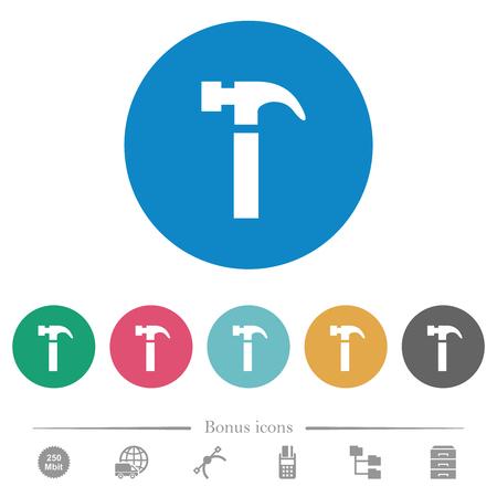 Single hammer flat white icons on round color backgrounds. 6 bonus icons included. Illustration