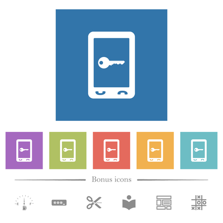 Mobile secure flat white icons in square backgrounds. 6 bonus icons included.