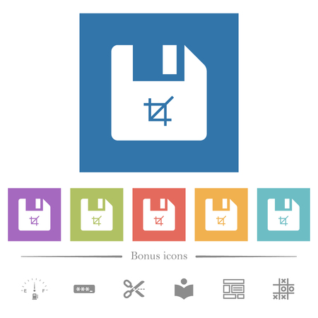Truncate file flat white icons in square backgrounds. 6 bonus icons included.
