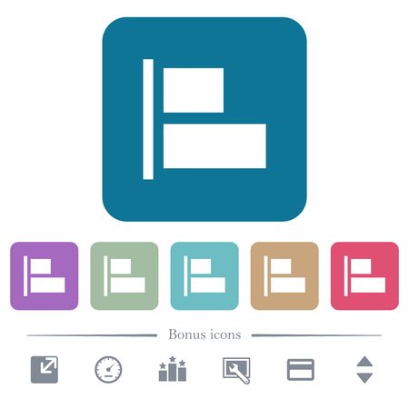 Align to left white flat icons on color rounded square backgrounds. 6 bonus icons included Ilustração
