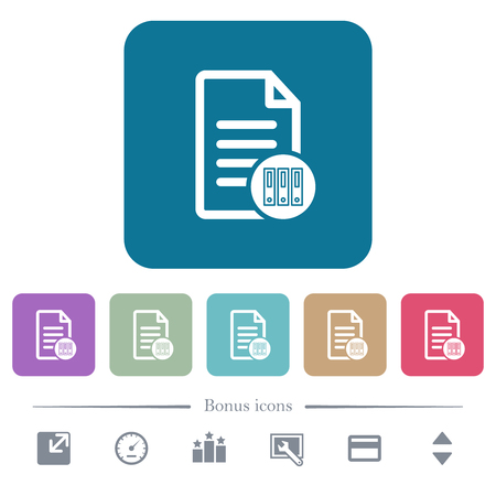 Archive document white flat icons on color rounded square backgrounds. 6 bonus icons included