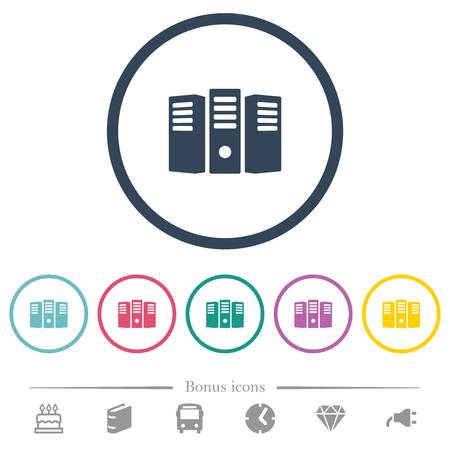 Server hosting flat color icons in round outlines. 6 bonus icons included.