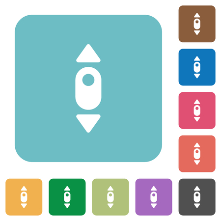 Mouse scroll up white flat icons on color rounded square backgrounds
