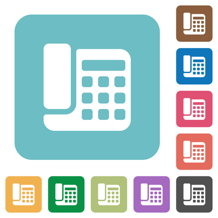 Office phone white flat icons on color rounded square backgrounds