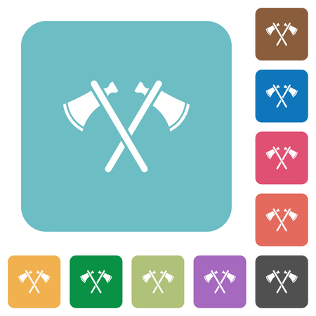 Two tomahawks white flat icons on color rounded square backgrounds  イラスト・ベクター素材