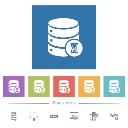 Database working flat white icons in square backgrounds. 6 bonus icons included.