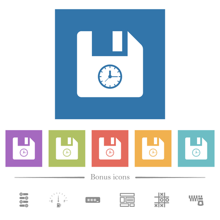 File time flat white icons in square backgrounds. 6 bonus icons included.