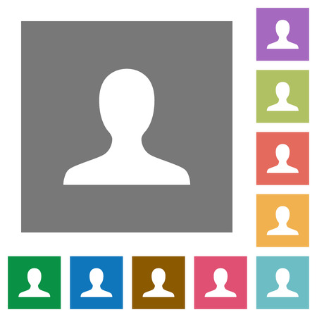 Blank user avatar flat icons on simple color square backgrounds