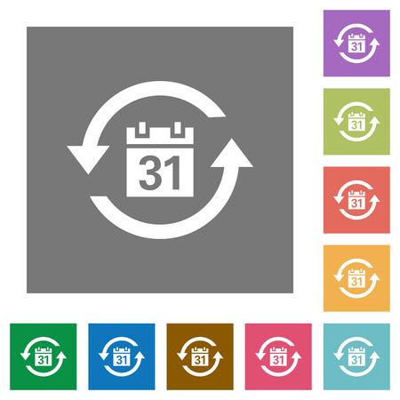 Icônes plates d'abonnement mensuel sur des arrière-plans carrés de couleur simple