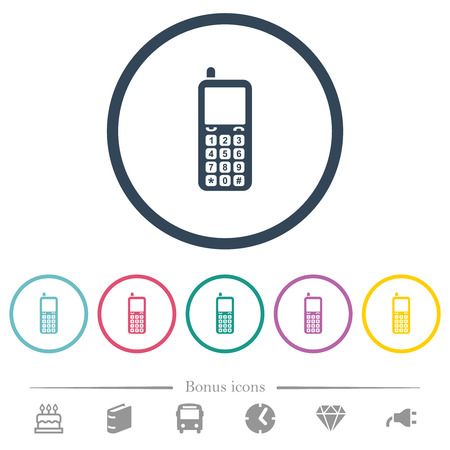 Retro mobile phone flat color icons in round outlines. 6 bonus icons included. Ilustrace