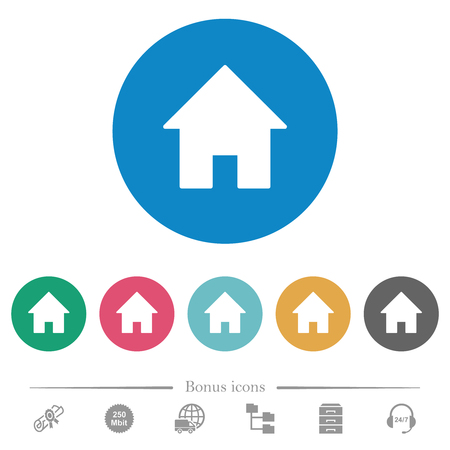 Home flat white icons on round color backgrounds. 6 bonus icons included.