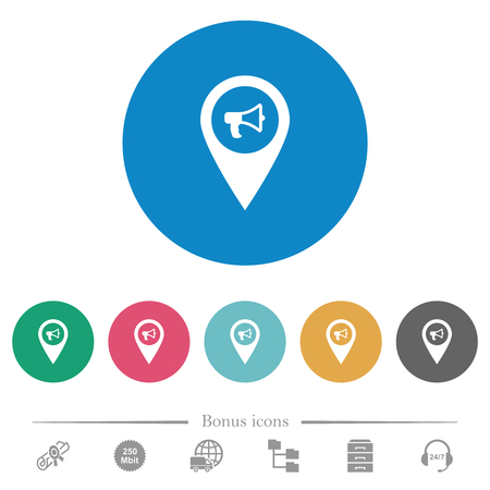 Voice navigation flat white icons on round color backgrounds. 6 bonus icons included.