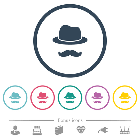 Incognito with mustache flat color icons in round outlines. 6 bonus icons included.