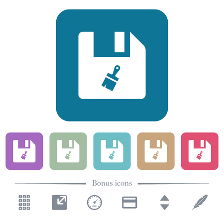 Paste file white flat icons on color rounded square backgrounds. 6 bonus icons included