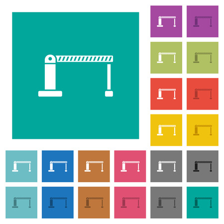 Closed barrier multi colored flat icons on plain square backgrounds. Included white and darker icon variations for hover or active effects.
