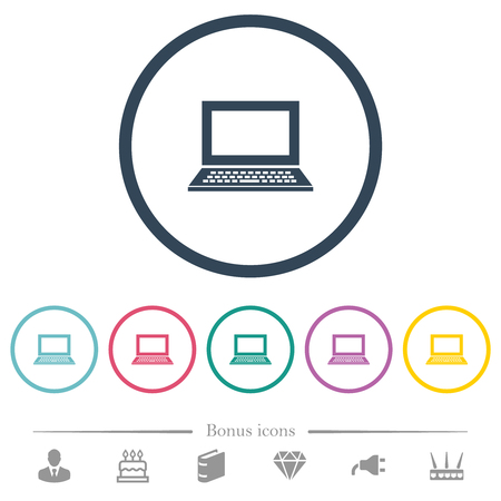 Laptop with blank screen flat color icons in round outlines. 6 bonus icons included.
