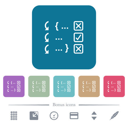 Debugging program white flat icons on color rounded square backgrounds. 6 bonus icons included