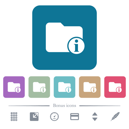 Directory info white flat icons on color rounded square backgrounds. 6 bonus icons included Illustration