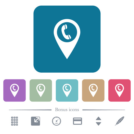 Call box GPS map location white flat icons on color rounded square backgrounds. 6 bonus icons included