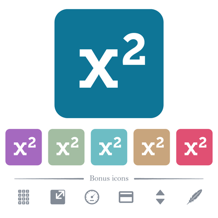 Math exponentiation white flat icons on color rounded square backgrounds. 6 bonus icons included