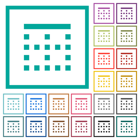 Top border flat color icons with quadrant frames on white background