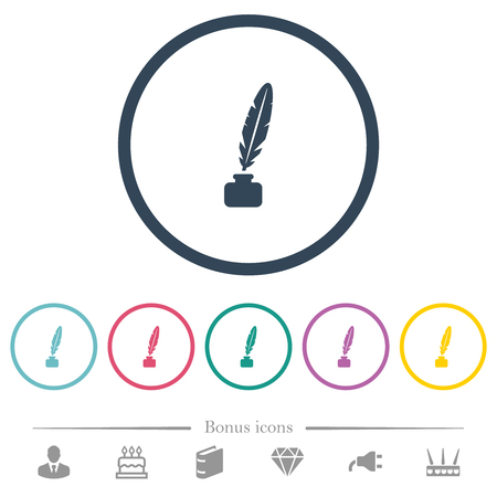 Feather in ink bottle flat color icons in round outlines. 6 bonus icons included. Reklamní fotografie - 124573899