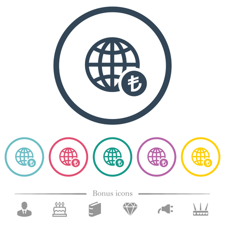 Online Lira payment flat color icons in round outlines. 6 bonus icons included.