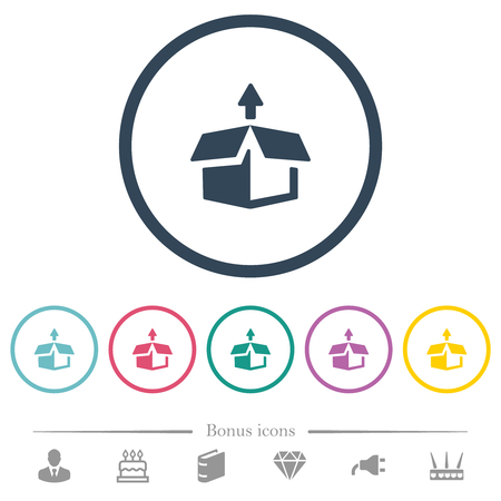 Unpack from box flat color icons in round outlines. 6 bonus icons included. Illustration
