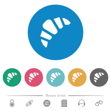 Bakery flat white icons on round color backgrounds. 6 bonus icons included.