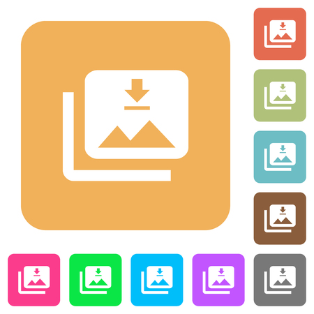Download multiple images flat icons on rounded square vivid color backgrounds. Illustration