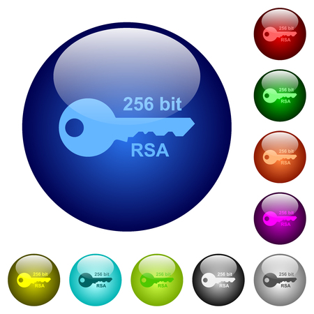 256 bit rsa encryption icons on round color glass buttons Illustration