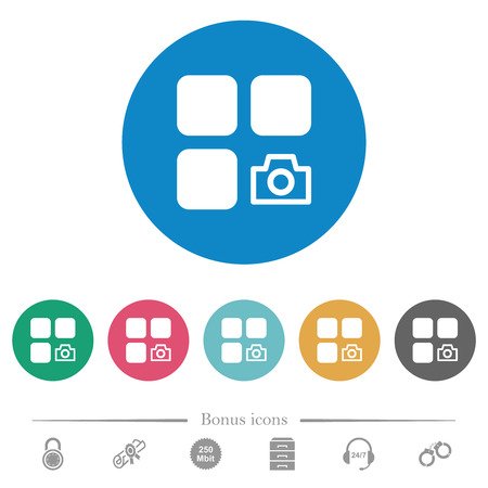 Component snapshot flat white icons on round color backgrounds. 6 bonus icons included. Stok Fotoğraf - 124519179