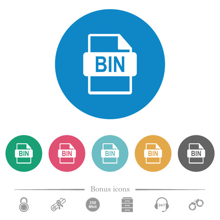 Bin file format flat white icons on round color backgrounds. 6 bonus icons included.