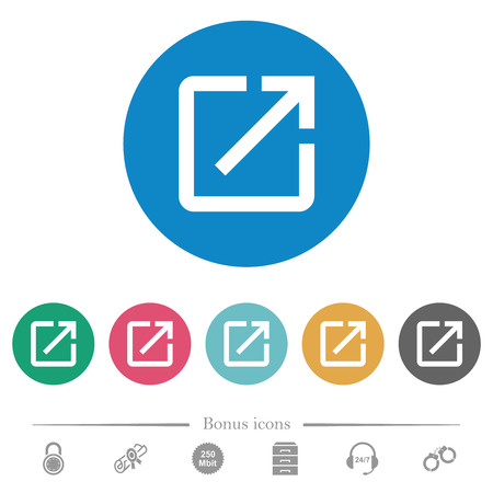 Launch application flat white icons on round color backgrounds. 6 bonus icons included.