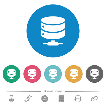 Network database flat white icons on round color backgrounds. 6 bonus icons included.