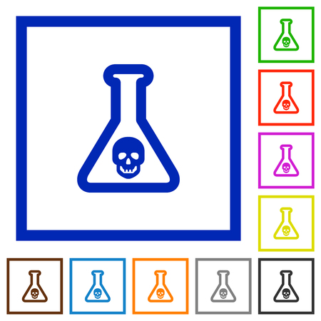 Dangerous chemical experiment flat color icons in square frames on white background