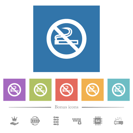 No smoking sign flat white icons in square backgrounds. 6 bonus icons included.