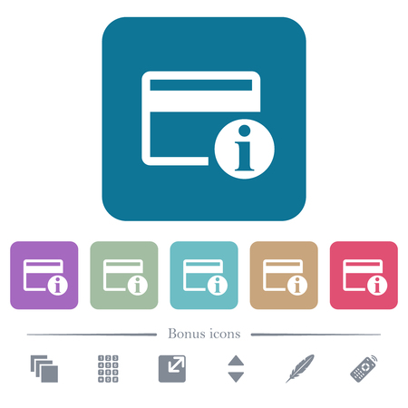 Credit card info white flat icons on color rounded square backgrounds. 6 bonus icons included