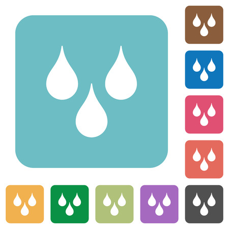 Water drops white flat icons on color rounded square backgrounds