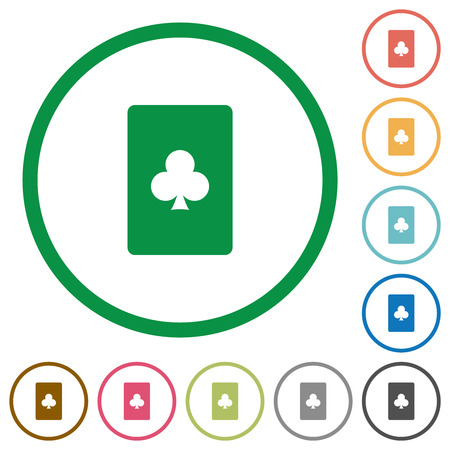 Club card symbol flat color icons in round outlines on white background Foto de archivo - 124490678