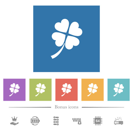 Four leaf clover flat white icons in square backgrounds. 6 bonus icons included.