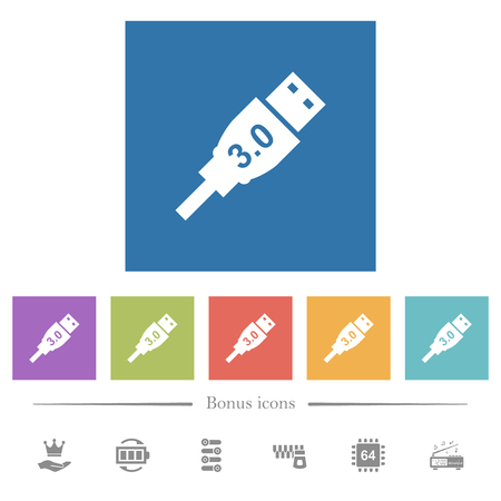 High speed USB flat white icons in square backgrounds. 6 bonus icons included.