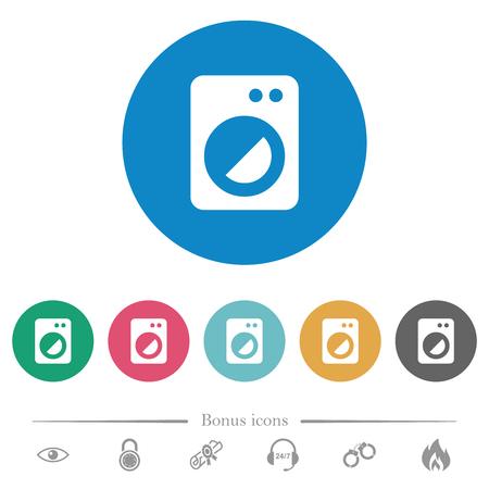 Washing machine flat white icons on round color backgrounds. 6 bonus icons included.