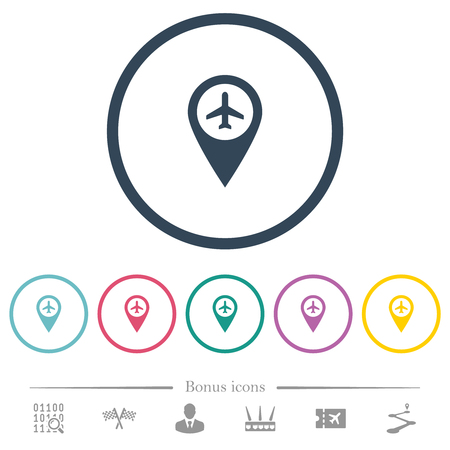 Airport GPS map location flat color icons in round outlines. 6 bonus icons included.